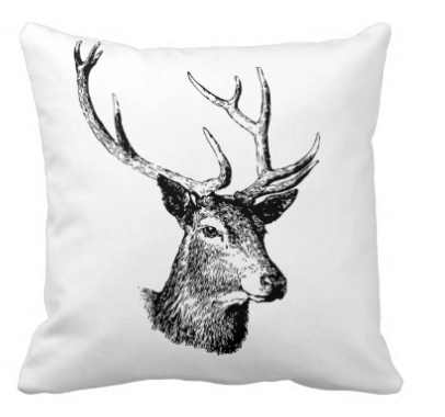 stag/deer head sketch pillow