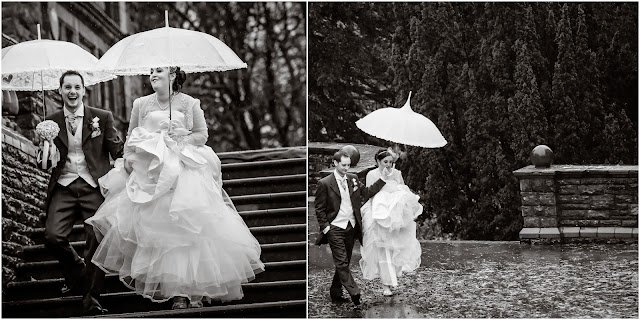 Wedding photos in the rain with white umbrellas