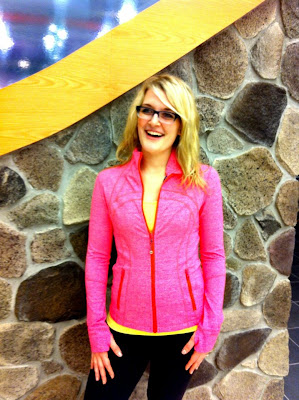 lululemon heathered flash define jacket and wild lime power y tank