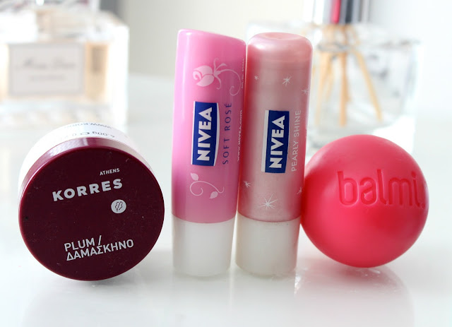 Lip Balms, Favourite Lip Balms, Balmi Lip Balm, Korres Plum Lip Butter, Nivea Lip Balms, Nivea Soft Rose Lip Balm, Nivea Pearly Shine Lip Balm,