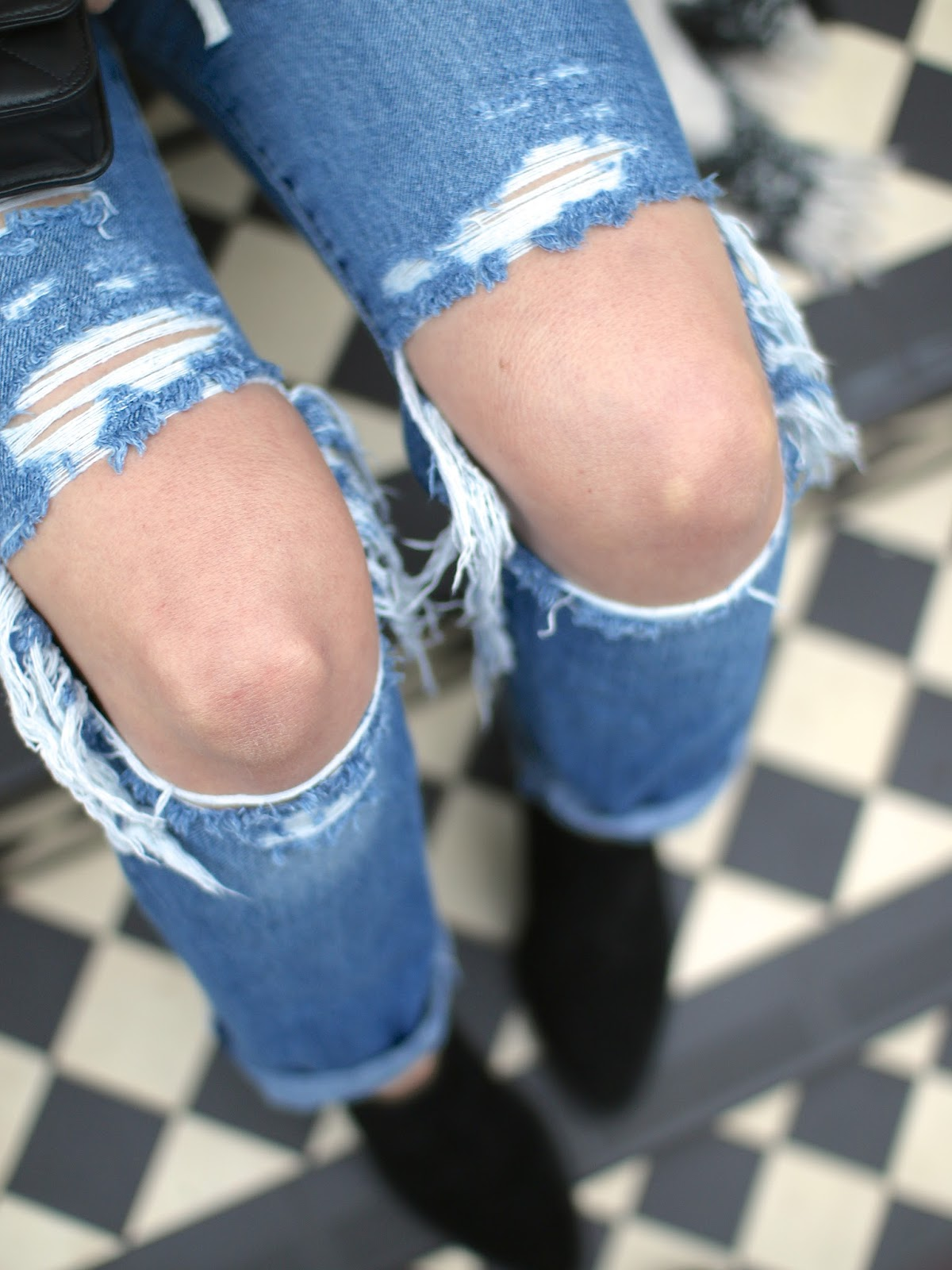 extremely distressed jeans, DIY ripped jeans with vintage denim