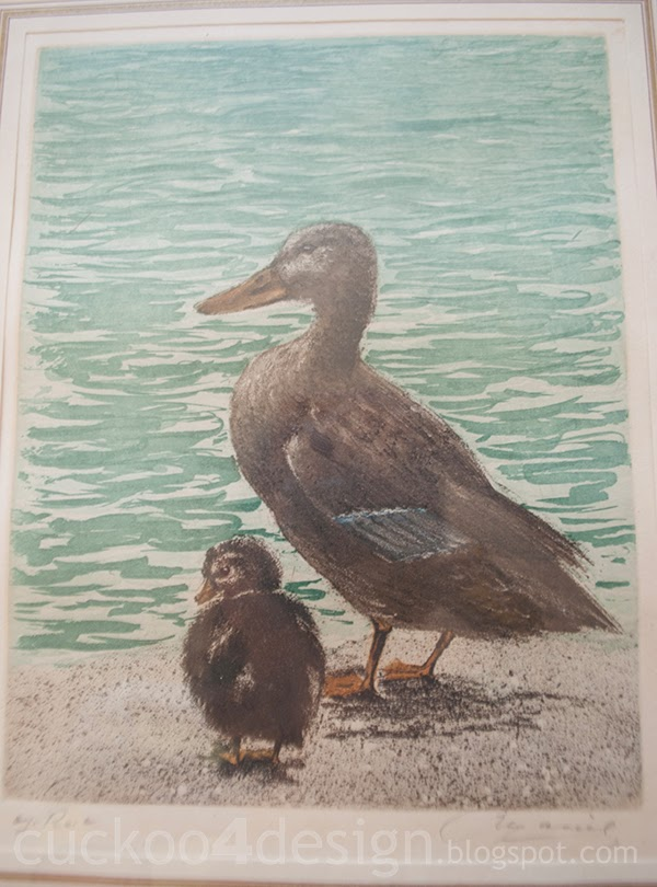 vintage mommy and baby duck print