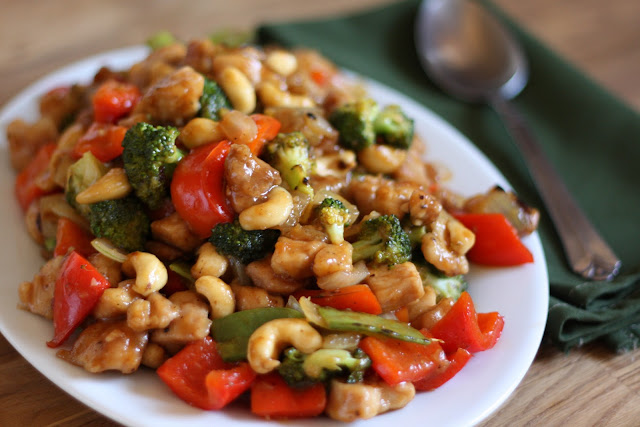 Sriracha Honey Cashew Chicken recipe by Barefeet In The Kitchen
