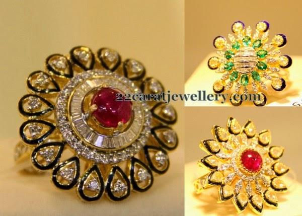 Grand Kundan Cocktail Rings Jewellery Designs