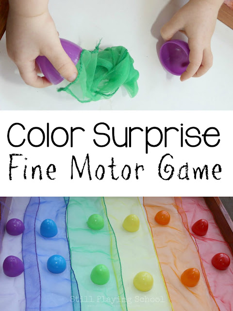 Use everyday items to create a color game for preschool kids!
