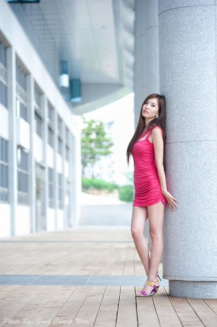 Lee Ji Min in Red Dress