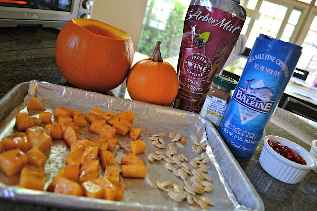 Toasted pumpkin seeds and butternut squash with Arbor Mist #CBIas