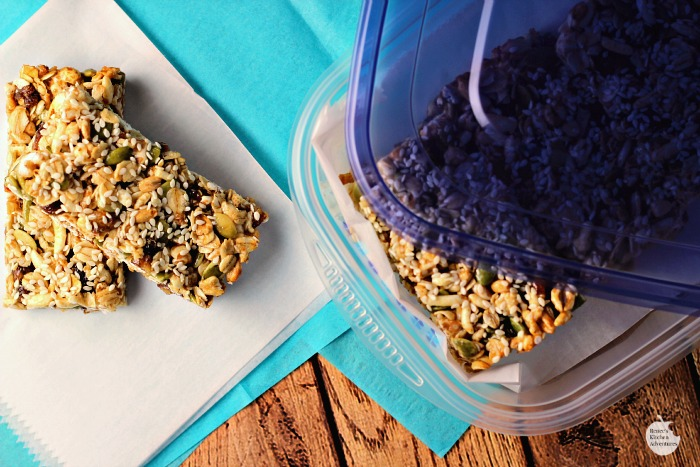 BE WELL Snack Bars (Pumpkinseed, Date & Sesame) and a BE WELL Care Package! | by Renee's Kitchen Adventures - Put together this BE WELL care package for your college student or anyone you love and want to be well complete with healthy homemade snack bars full of dried fruit , seeds and whole grains.  #BeHealthyForEveryPartofLife ad