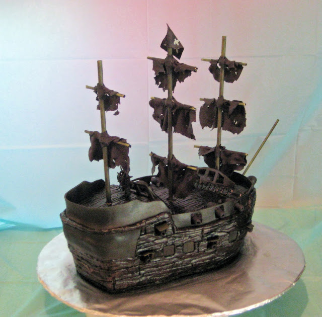 Pirate Ship Cake of The Black Pearl from Pirates of the Caribbean - Back Angle View