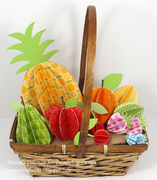 3D Paper Fruit basket.  Fun and easy!