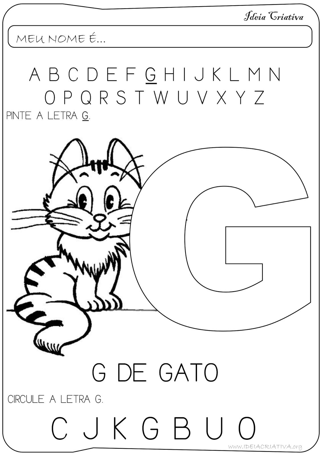 Atividade Letra G Educação Infantil