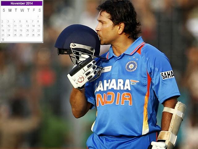 Sachin Tendulkar Calendar 2014