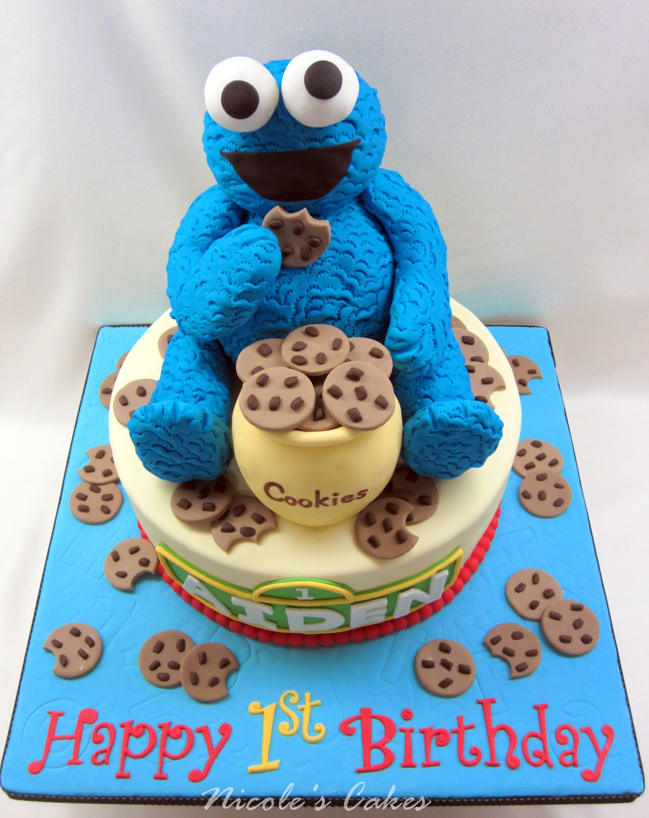 On Birthday Cakes The Cookie Monster A 1st Birthday Cake