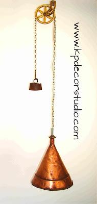 lampara de techo hecha a mano de cobre original