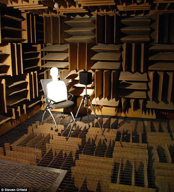 It's the world's quietest room.  This room, the 'Anechoric Chamber' at Orfield Laboratories in the US is 99.99% sound absorbent. The Guinness Book of World Records says it's the quietest room on the planet.  Apparently it's so quiet, staying in there for a time will drive you insane. Nobody has been able to be in the room for more than forty five minutes. The only noises you hear emanate from your own body. Fluids gurgling, joints creaking, your breathing and your heart pumping.
