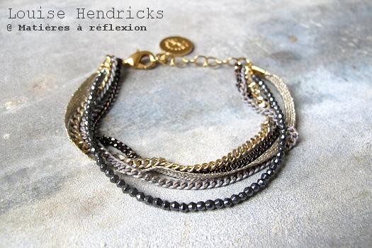Bijoux gris noirs Louise Hendricks bracelet chaînes