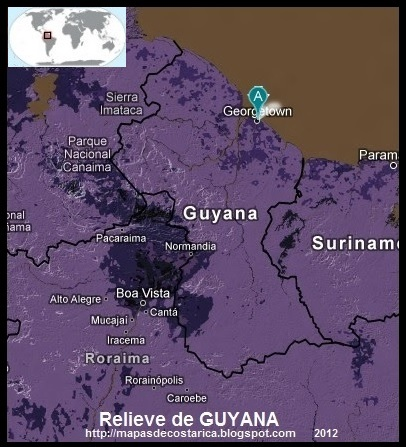 Mapa de Relieve de GUYANA