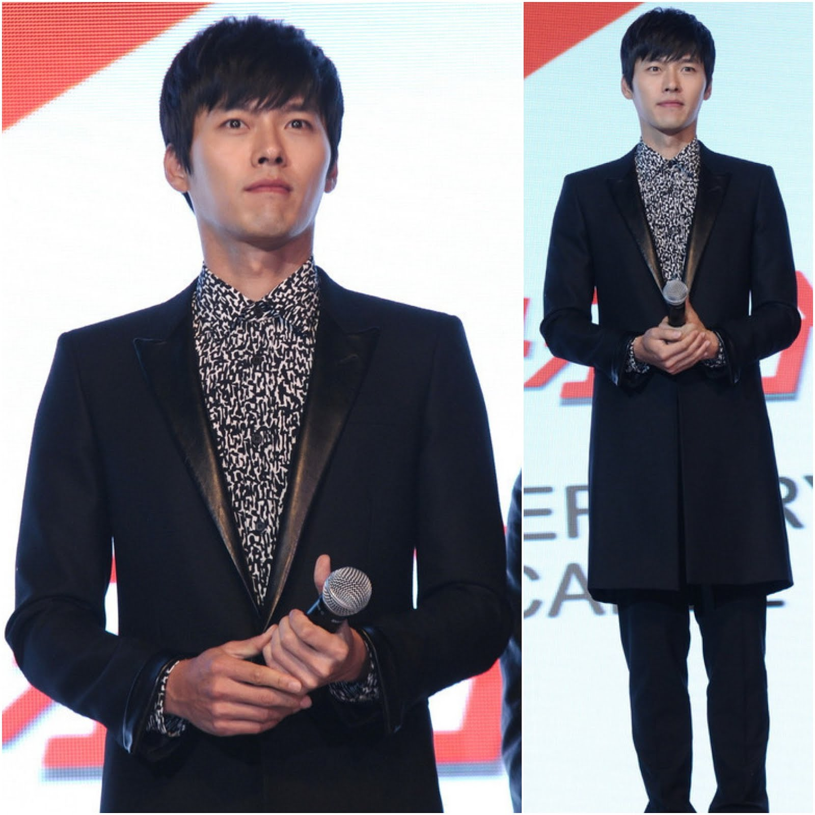 Hyun Bin [玄彬] in Saint Laurent matt lane leather lapel coat and leopard print cotton voile shirt - Shanghai press event [韩国明星玄彬现身上海]