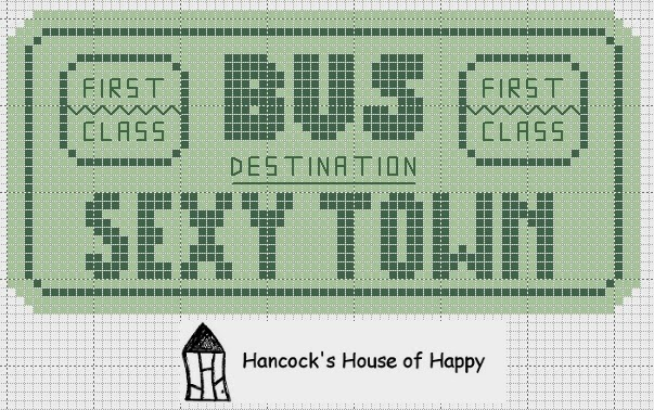 Sexy town vintage bus ticket free cross stitch chart download