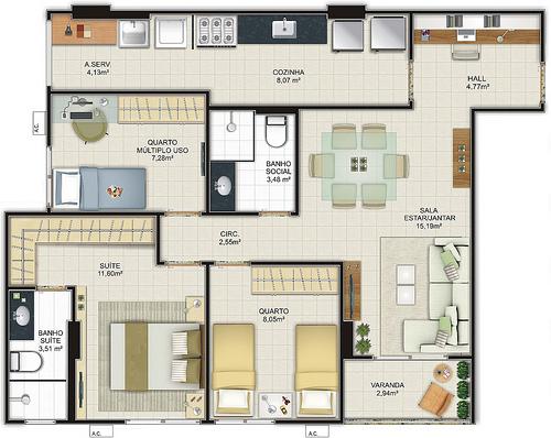 Plantas de casas com tr s quartos imagens para celular for Casa de tres plantas sylvanian