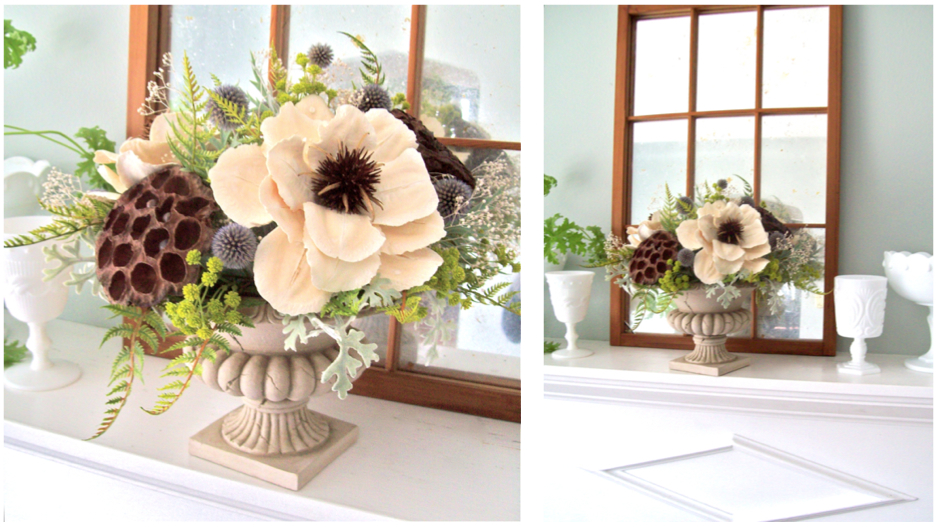Sweet pea floral design the little flower soap co everlasting aged stone urn vase grecian urn fiberglass urn vase silk flowers everlasting arragnement centerpiece for michigan mightylinksfo