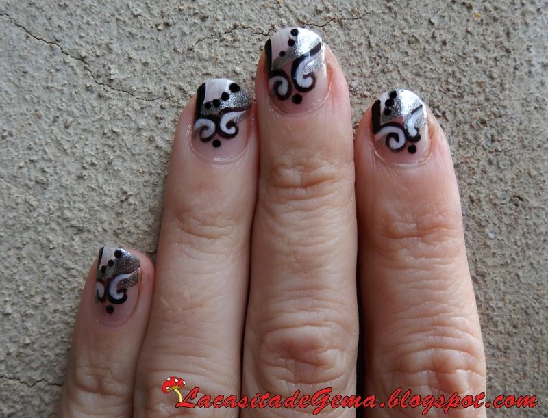La Casita De Gema Tutorial Unas Nº13 Blanco Negro Y Gris Nail Art