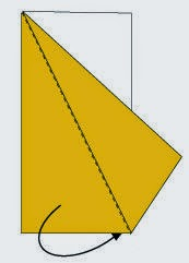 Bước 3: Gấp chéo lớp giấy ở dưới về phía đằng sau.