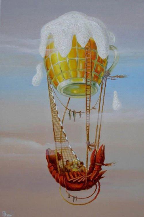 Gennady Privedentsev pinturas arte surreal Um balão comestível