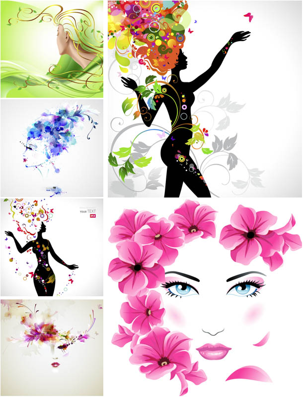 Editable Floral Girls Vector Design