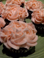 cupcakes with buttercream icing in rose effect