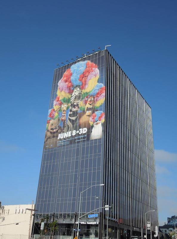 Giant Madagascar 3 movie billboard Sunset Strip
