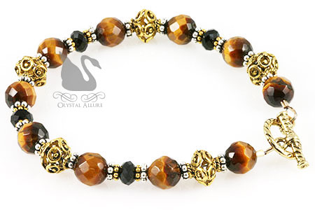 Black Crystal Tiger Eye Gemstone Beaded Bracelet (B122)
