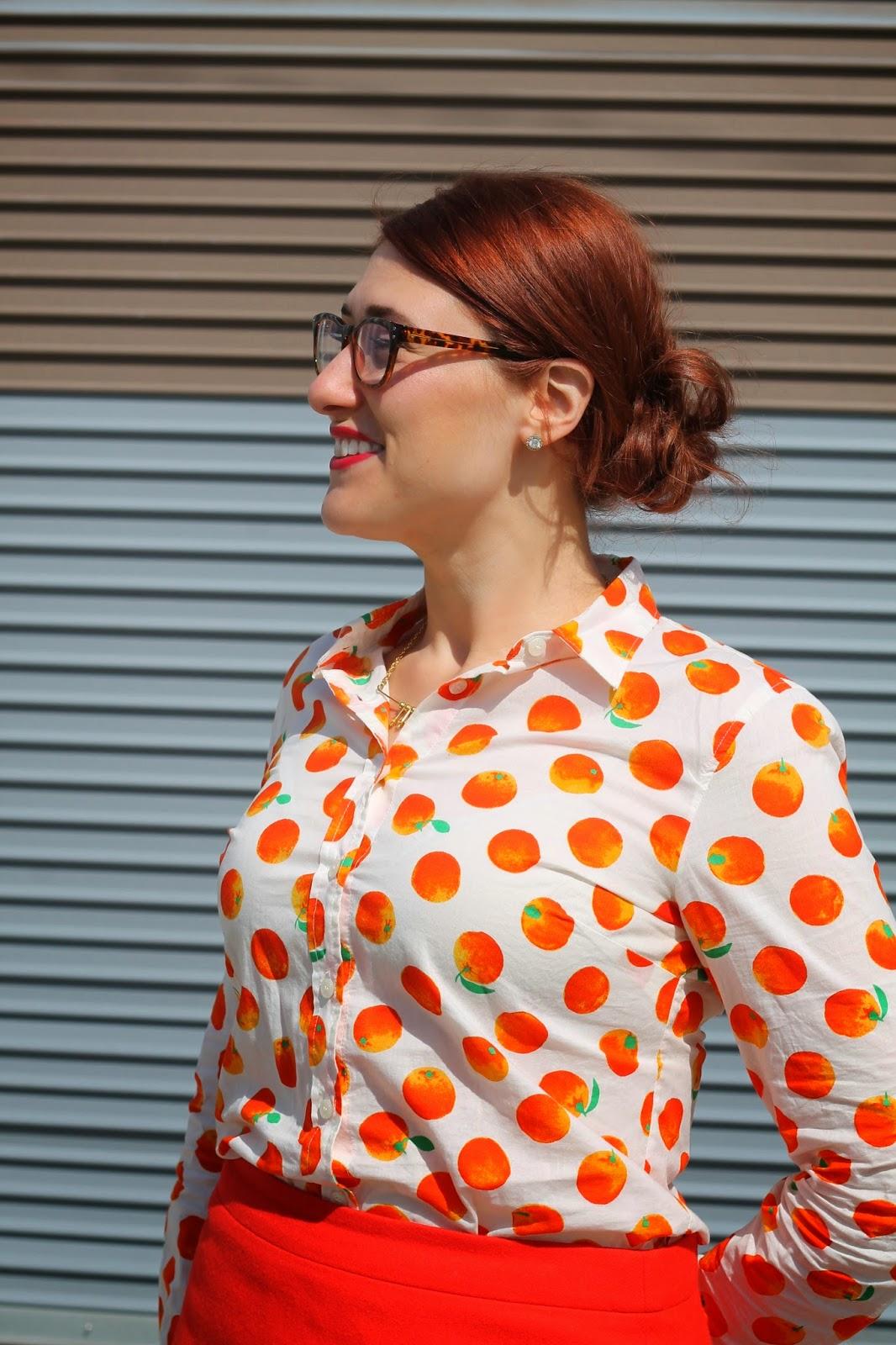 j, crew, citrus, print, shirt
