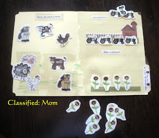 Free Farm Animals Sight Words File Folder Game