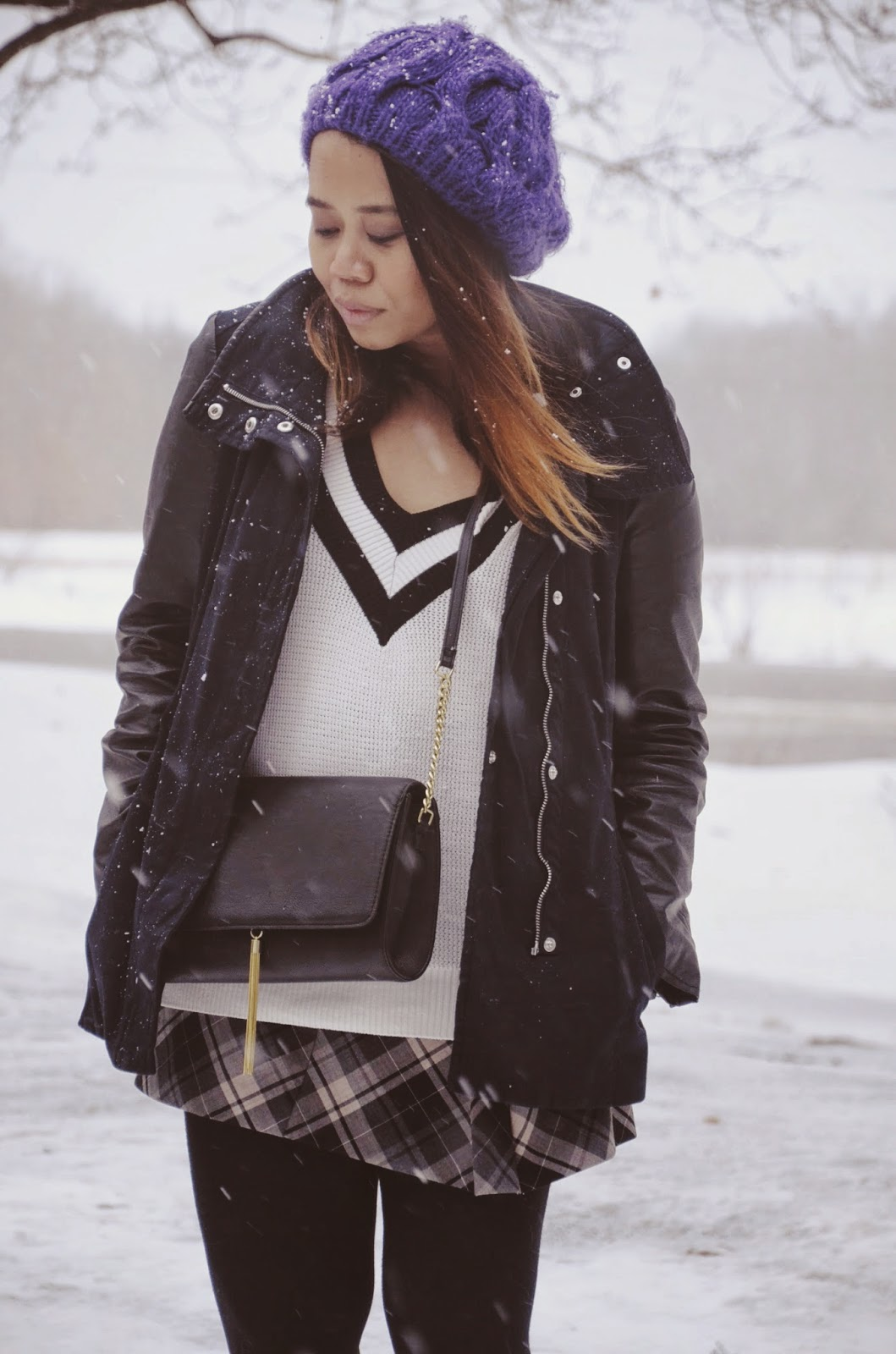 express tartan miniskirt, hm leather parka, hm chain crossbody, nordstrom rack booties