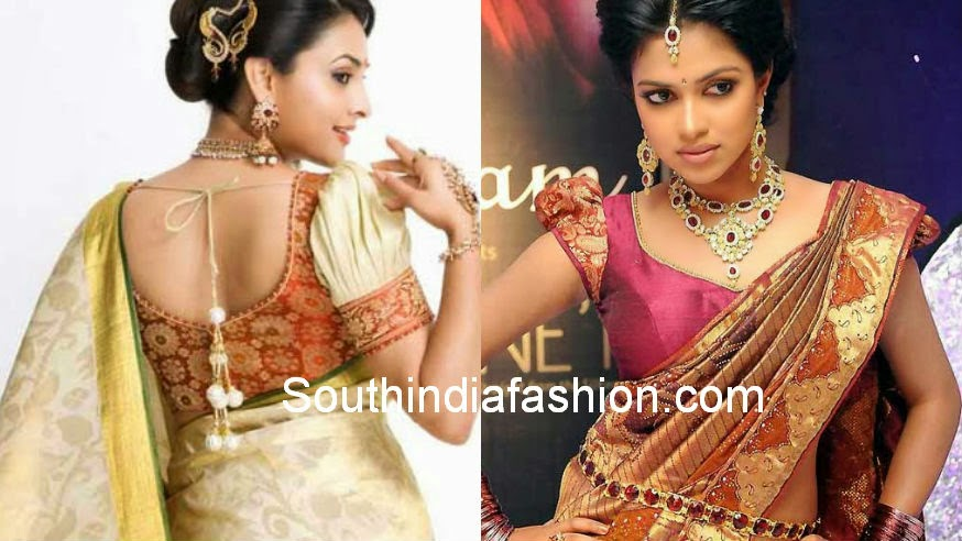 puff sleeves saree blouse designs