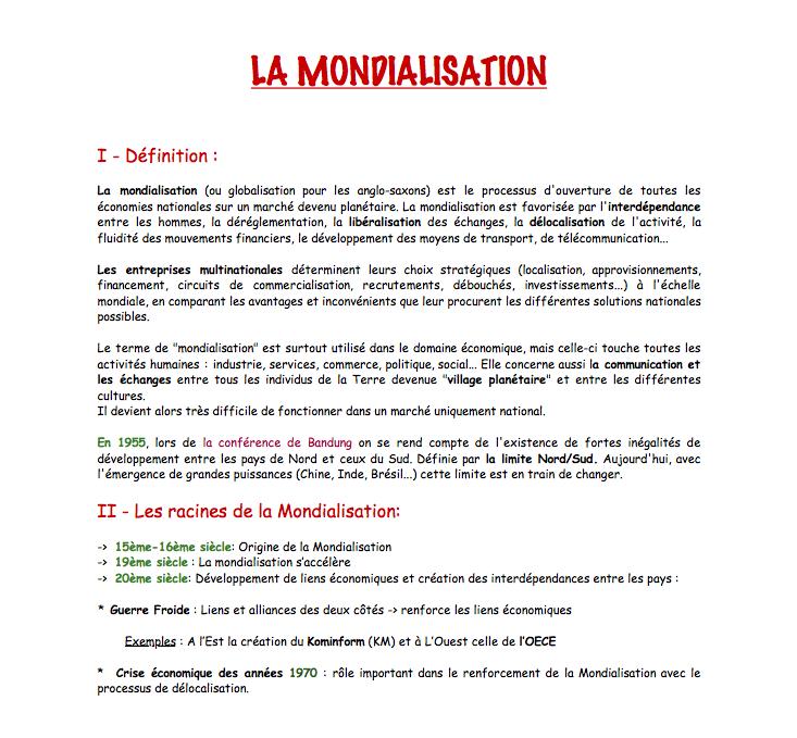 R viser l 39 histoire et la g ographie la mondialisation fiche de r vision - Definition d histoire ...
