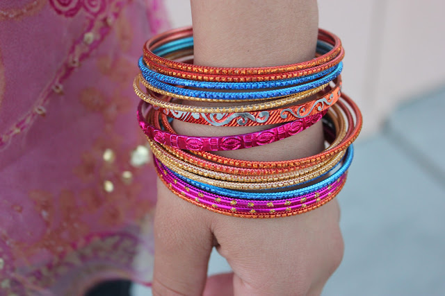 Colorful Orange, Pink, Blue Stacked Bangles