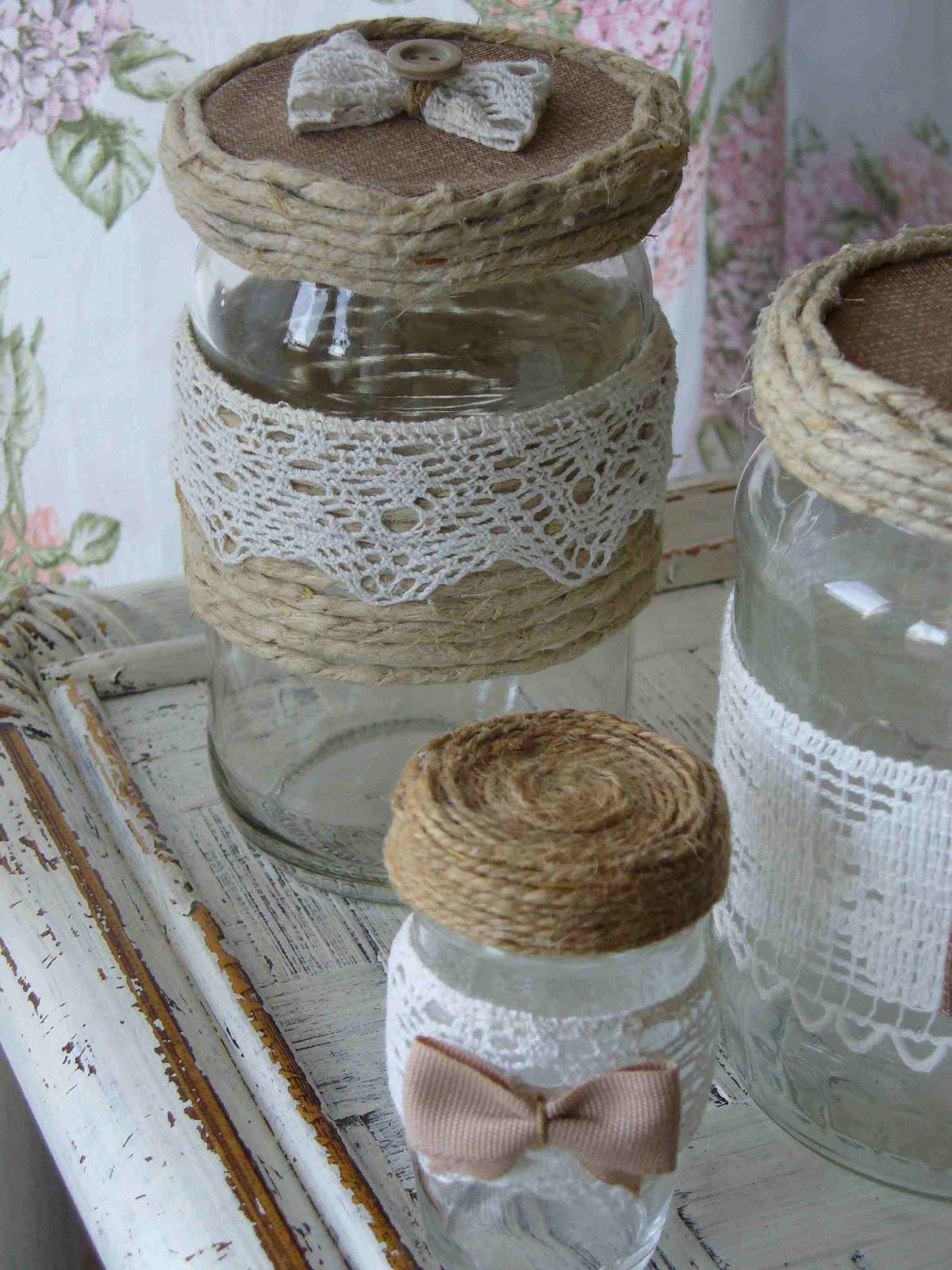 Myshabbycountrydreams barattoli di vetro decorati for Portacandele in vetro