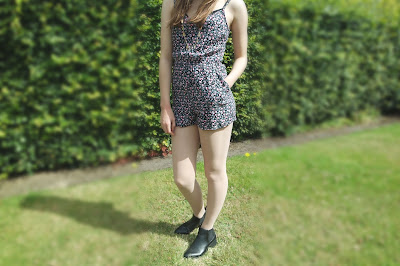 Highstreet style perfect for summer and festivals, playsuit from h and m chelsea boots from Newlook and long necklace from accessorize.