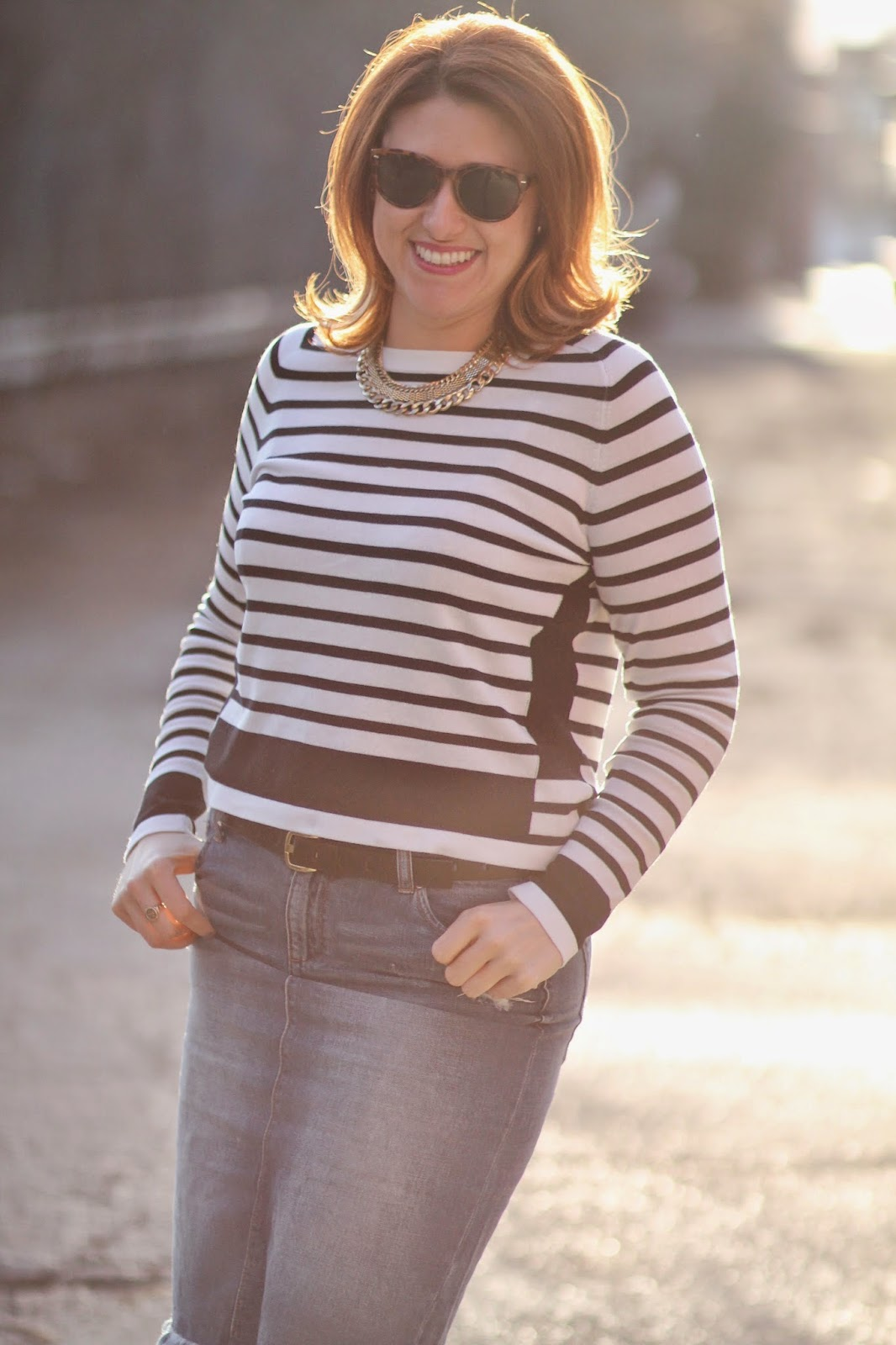 striped, sweater, h&m, Joe, fresh, denim, pencil, skirt, distressed
