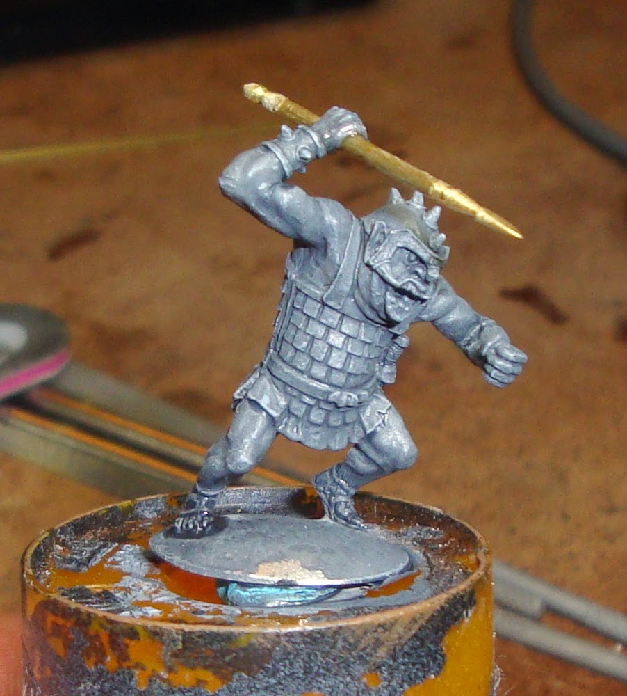 Fig.12 The spear installed with superglue into the hand of a miniature, in this case a Tom Meier goblin.