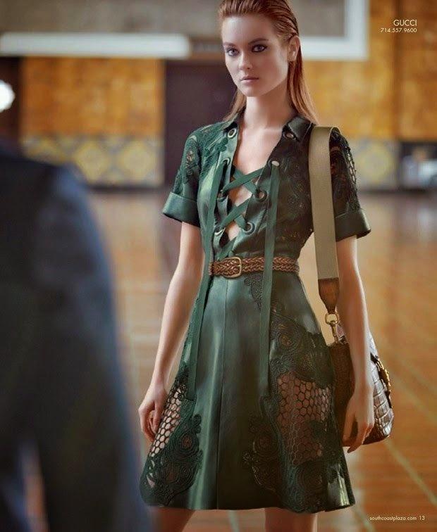 Gucci 2015 SS Dark Green Leather Lace Dress Editorials