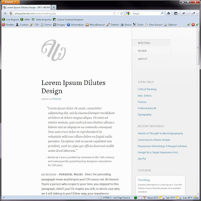 Screen shot of http://artequalswork.com/posts/tweeking.php.