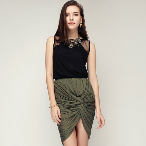 Knot Front Ruched Skirt