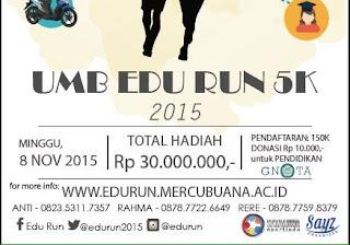 EduRun 5K 2015 Universitas Mercu Buana, lomba lari mh thamrin bunderan hi jakarta
