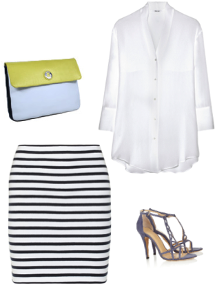 VipandSmart Look navy con blusa blanca
