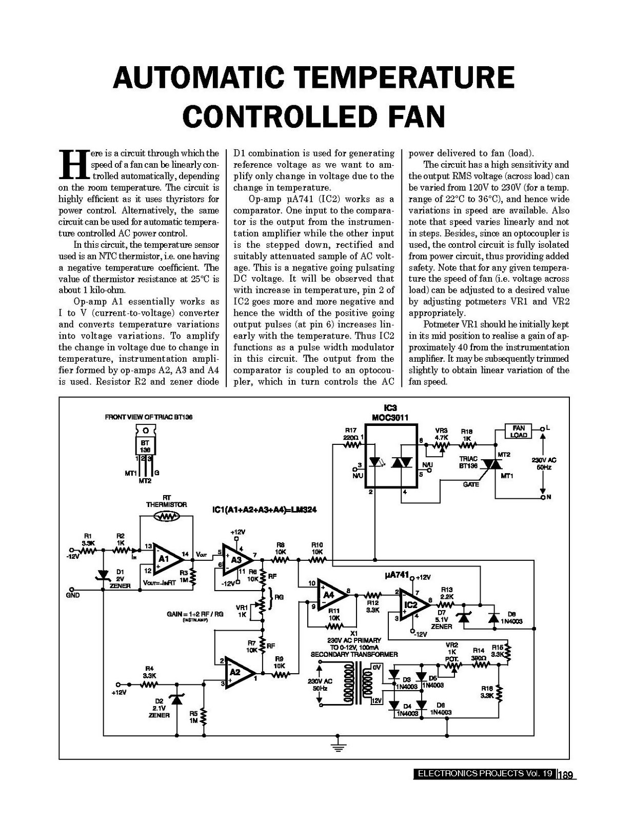 Automatic Temperature Controlled Fan ~ Electronics Circuits For You #242424
