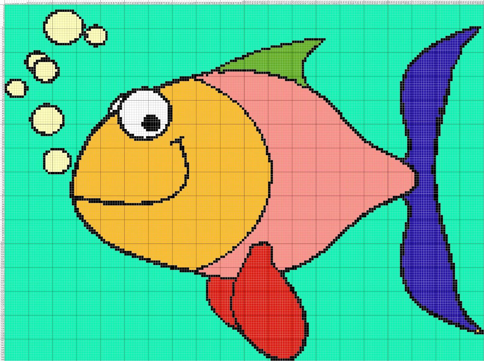 Gambar pola kristik ikan lucu warna-warni