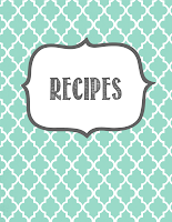 Recipe Book Cover Printable Cover page and section covers: